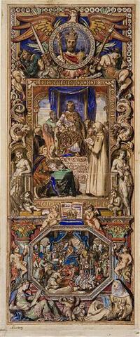 Charlemagne présidant l'école palatine. Les dons d'Haroun al-Rachid