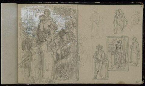 Diverses études de composition avec figures