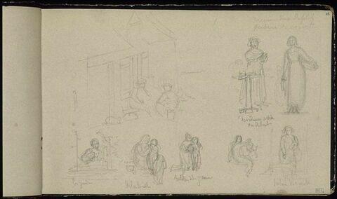 Etudes de paysannes et annotations manuscrites