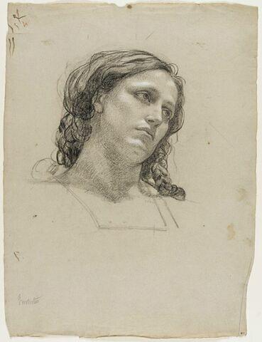Tête de femme à la chevelure tressée, regardant vers la droite