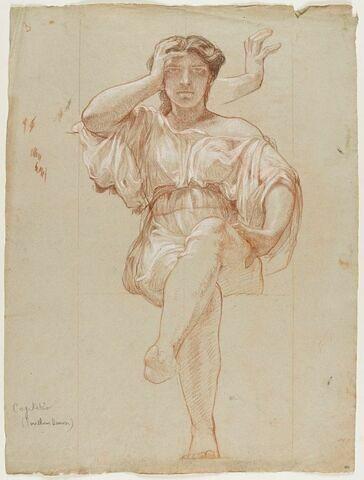 Femme drapée, la tête appuyée sur le bras droit, la main gauche sur la cuisse gauche, jambes découvertes, la gauche croisée surr la droite. Fragment d'un bras de femme