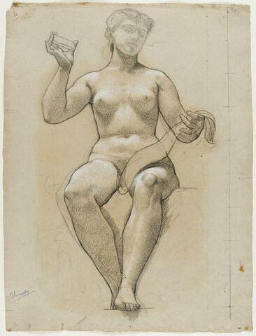 Femme nue projetant les rayons issus d'un prisme qu'elle tient de la main droite levée, sur une bande de papier qu'elle retient de la gauche