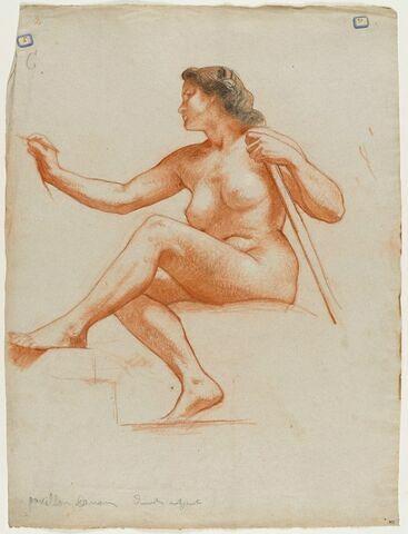 Femme nue assise, tournée vers la gauche, jambes croisées, écrivant