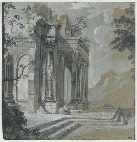 Paysage avec ruines d'architecture classique