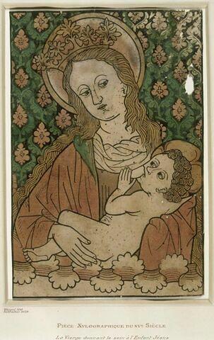 Vierge à mi-corps allaitant l'Enfant Jésus