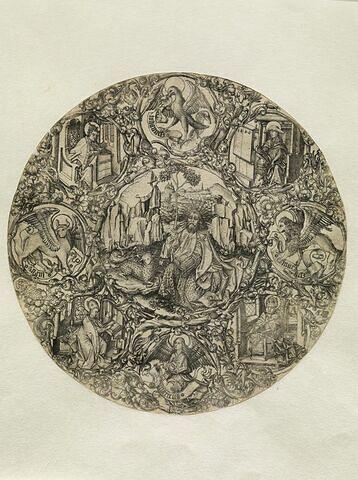 Saint Jean-Baptiste entouré des docteurs de l'Eglise et du tétramorphe