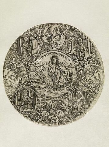 Saint Jean-Baptiste entouré des symboles des Evangélistes et des Pères de l'Eglise