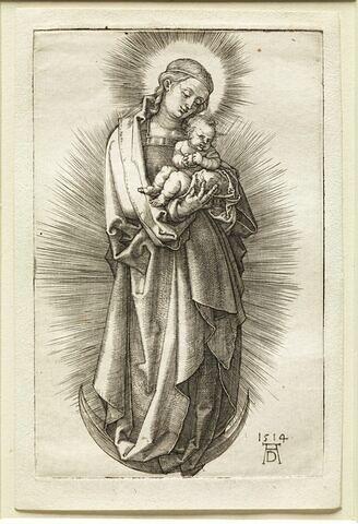 Vierge à l'Enfant sur un croissant de lune tournée à droite