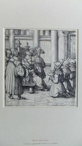 Guerriers agenouillés devant un seigneur