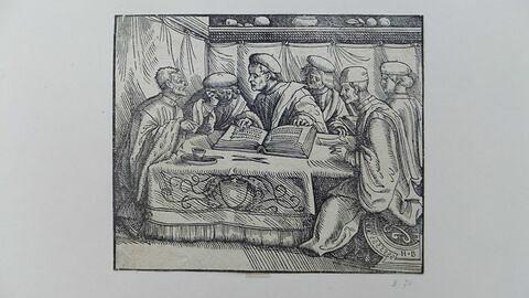 Six docteurs assis autour d'une table