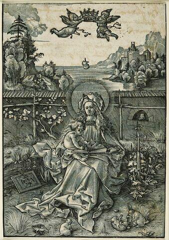 La Vierge assise dans un jardin