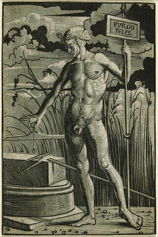 Homme nu tenant d'une main un instrument de mathématique et de l'autre un bâton sur lequel on lit : Pyrgoteles