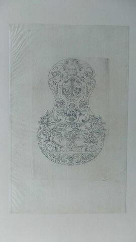 Ornement en forme de vase avec un bouquet de rinceau, paysage en bas
