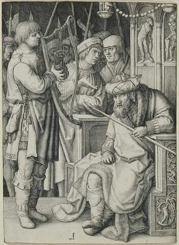 David jouant de la harpe devant Saül