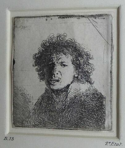 Portrait de Rembrandt la bouche ouverte