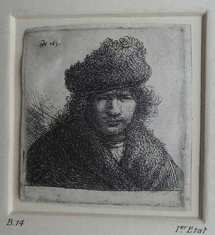 Rembrandt en bonnet de fourrure inégale