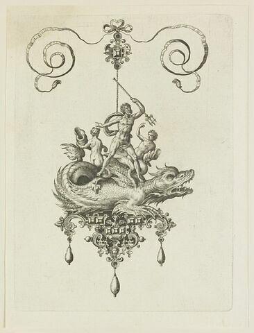 Pendentif avec Neptune et deux naïades sur un monstre marin