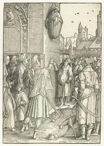 Le poète Virgile suspendu dans un panier