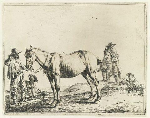 Paysan tenant un cheval
