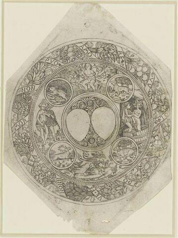 Médaillon avec quatre scènes d'amour et quatre animaux, entourés d'une bordure de fruits
