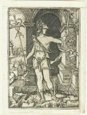 Mercure tenant un caducée et une flûte