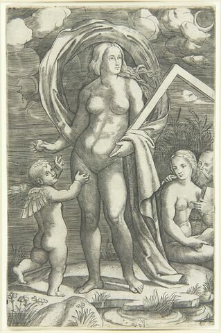 L'amour et Vénus portant une équerre