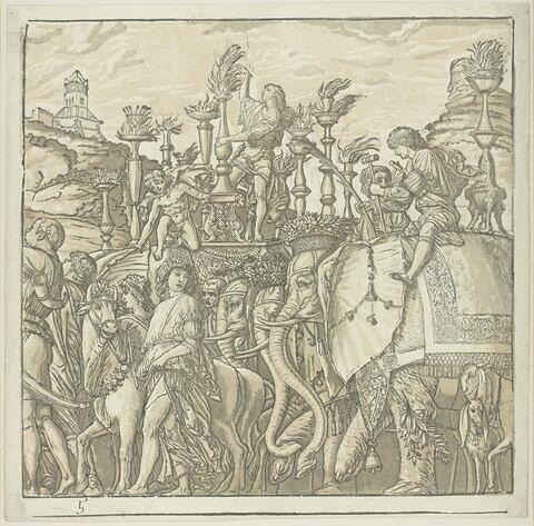 Le Triomphe aux éléphants. Cinquième planche pour Le triomphe de Jules César