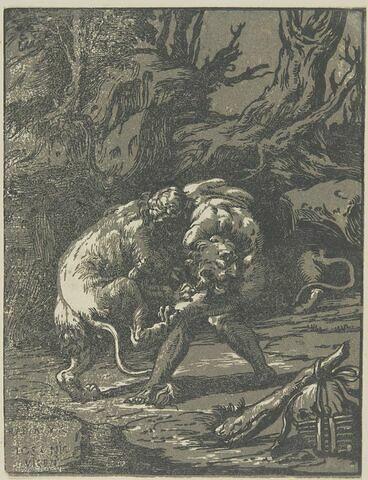 Hercule étouffant le lion de Némée