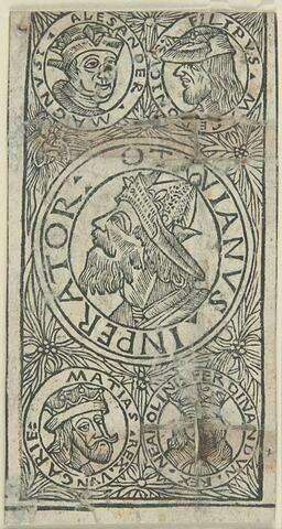 Carte de tarot - cinq bustes de princes dans des médaillons