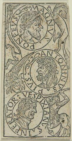 Carte de tarot - trois bustes de princes dans des médaillons