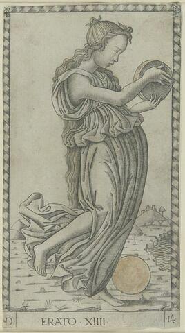 Cartes de tarot - quatre pièces vénitiennes - Erato jouant du tambourin