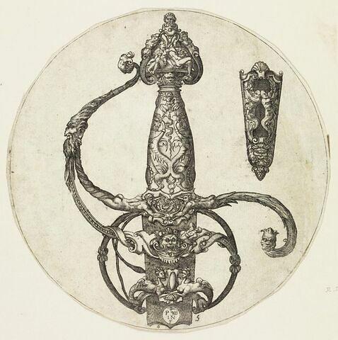 Poignée d'épée à la sirène à deux têtes