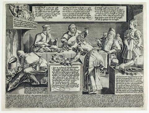 Calvin, Luther et le Pape banquetant