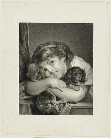 Jeune fille tenant un chien