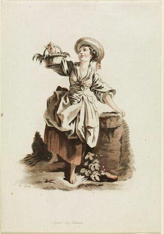 Jeune paysanne portant un panier