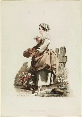 Jeune paysanne portant des roses dans son tablier