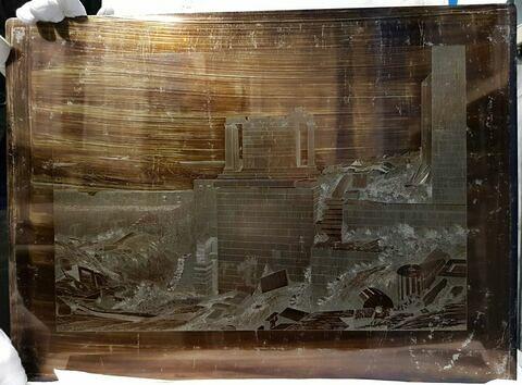Acropole d'Athènes : temple d'Athena Niké, colline de Musée (?) et mausolée de Philappapus, Egine, golfe Saronique et montagnes de l'Argolide