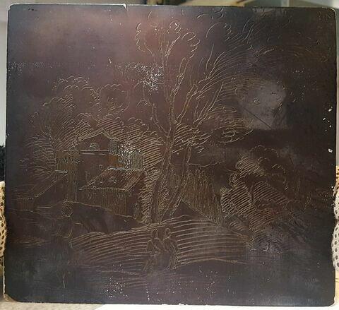 Paysage. Trois figures ; au milieu, deux arbres ; dans le fond, des fabriques