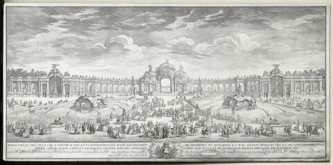 Décoration élevée sur la terrasse du château de Versailles pour l'illumination et le feu d'artifice tiré à l'occasion du mariage de Madame Louise-Elizabeth de France avec Don Philippe, second infant d'Espagne, le 26 août 1739. Fête dirigée et conduite par M. de Bonneval