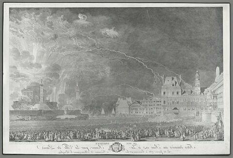 Le feu d'artifice tiré sur la place de l'Hôtel de Ville, le 21 janvier 1782