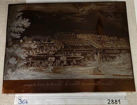 Vue et perspective du château de Versailles, du côté de l'entrée, du côté de l'orangerie