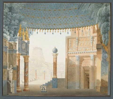 Projet de décor pour l'acte III de la Sémiramis de Catel