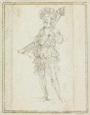 Projet de cartes à jouer : Femme de face, coiffée de plumes, tenant une lance
