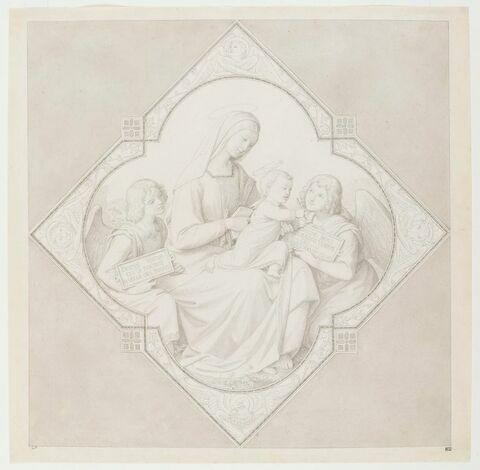 La Vierge à l'Enfant entourée de deux anges