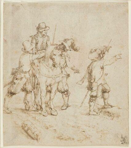 Trois voleurs pillant un cavalier