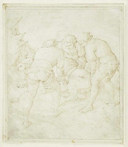 Trois hommes relevant un âne