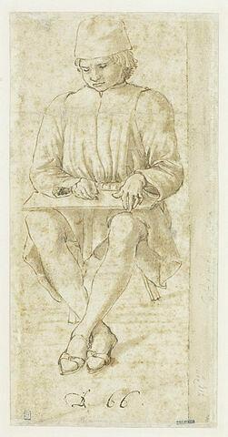 Jeune homme assis, écrivant