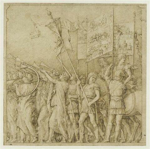 Triomphe de César : les joueurs de trompettes