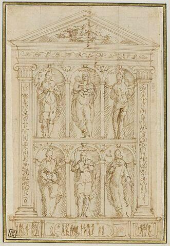 Projet de retable sculpté avec la Vierge entourée des saint Roch, saint Sébastien, saint Pierre, saint Barthélemy et saint Antoine