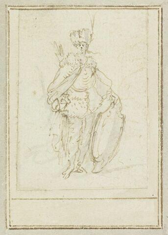 Projet de cartes à jouer : Femme debout portant un turban à aigrette et tenant un bouclier